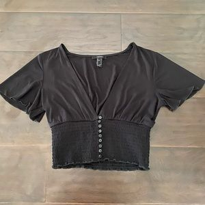 Forever 21 Black Flutter Sleeve Button-down Top